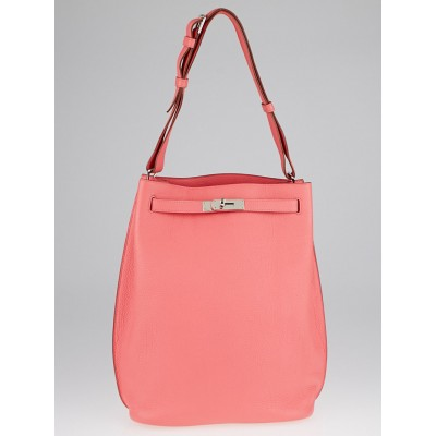 Hermes 26cm Rose Candy Togo Leather Palladium Plated So Kelly Bag