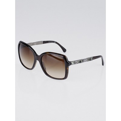 Chanel Tortoise Shell Square Acetate Frame and Crystals Bijou Sunglasses-5308-B