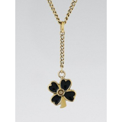 Chanel Black and Goldtone Clover Charm Necklace