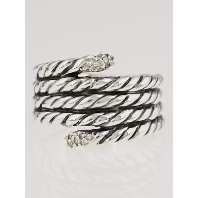 David Yurman Sterling Silver and Diamond Cable Willow Ring Size 6