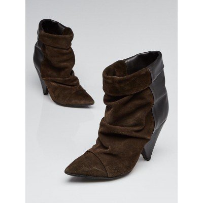Isabel Marant Khaki Suede and Leather Andrew Ankle Boots Size 6.5/37
