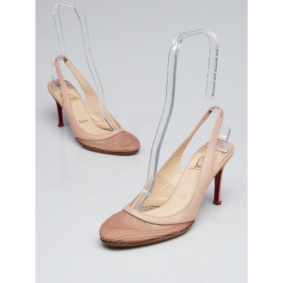 Christian Louboutin Pink Leather/Mesh Sling-back Heels Size 8/38.5