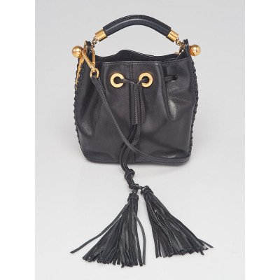 Chloe Black Leather/Yellow Snakeskin Small Gala Bucket Bag