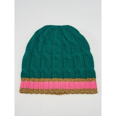 Gucci Green/Pink Wool Cable Knit Beanie Hat Size M