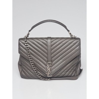 Yves Saint Laurent Grey Chevron Quilted Leather Monogram Large College Bag