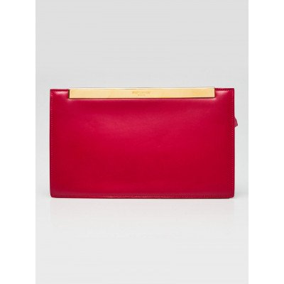 Yves Saint Laurent Pink Smooth Calfskin Leather Lutetia Clutch