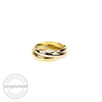 Cartier 18k Trinity Tri-Color Gold Rolling Ring Size 4