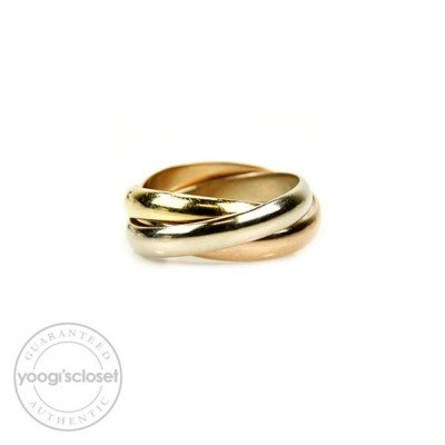 Cartier 18K Trinity Tri-Color Rolling Rings Size 6.5