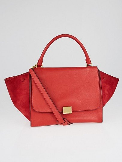 Celine Red Pebbled Calfskin/Suede Leather Small Trapeze Bag