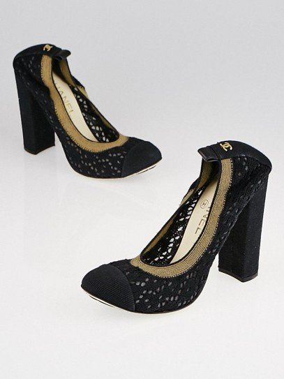 Chanel Black Crochet Cap-Toe Elastic Pumps Size 8.5/39