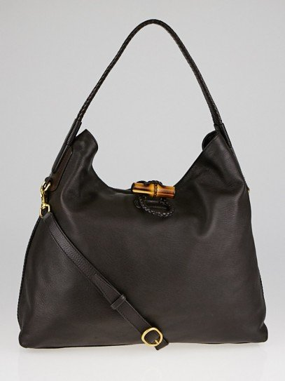 Gucci Brown Pebbled Deerskin Leather Hip Bamboo Shoulder Bag