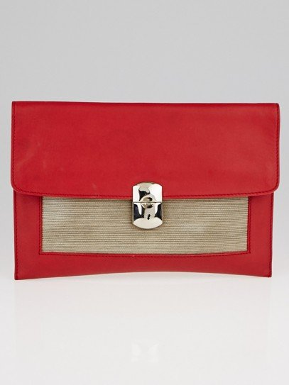 Balenciaga Red Calfskin Leather Ottoman Padlock Clutch Bag