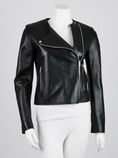 Celine Black Leather Motorcycle Jacket Size 2/36