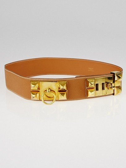 Hermes Vintage Gold Courchevel Leather Gold Plated Collier de Chien Belt Size 75