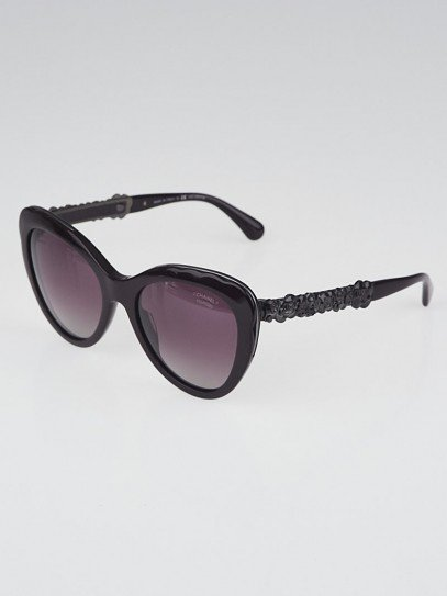 Chanel Burgundy Acetate Cat Eye Frame Blooming Bijou Sunglasses-5354