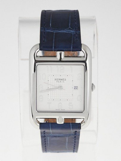 Hermes Stainless Steel and Sapphire Blue Alligator Cape Cod GM Quartz Watch