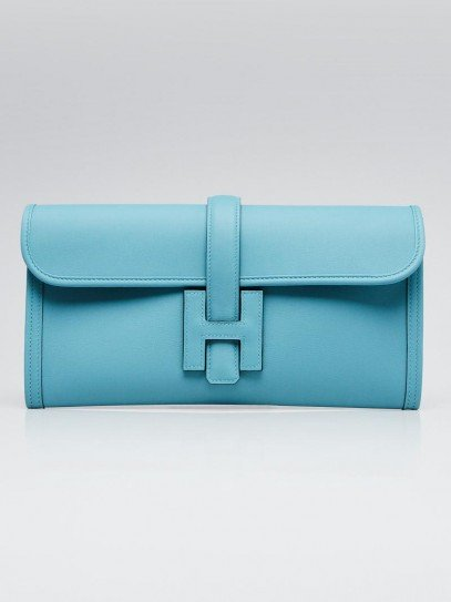 Hermes Blue Saint Cyr Swift Leather Jige Elan 29 Clutch Bag