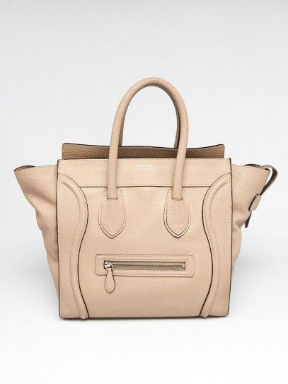 Celine Taupe Drummed Calfskin Leather Mini Luggage Tote Bag
