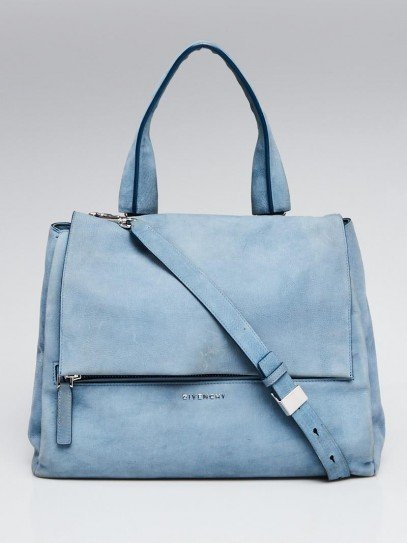 Givenchy Light Blue Nubuck Leather Pandora Pure Medium Bag