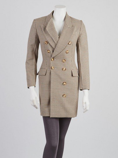 Stella McCartney Brown/Black Houndstooth Wool Long Jacket Size 2/36