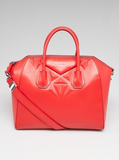 Givenchy Red Calfskin Leather 3D Stud Medium Antigona Bag