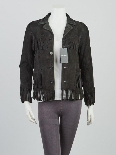 Yves Saint Laurent Black Suede Curtis Fringe Jacket Size 2/34