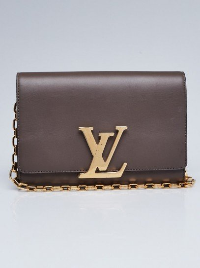 Louis Vuitton Grey Calfskin Leather Chain Louise MM Bag