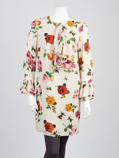 Gucci Multicolor Floral Print Silk Long Sleeve Dress Size 6/40