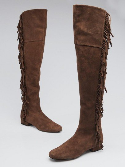Yves Saint Laurent Brown Suede Fringe Over-the-Knee Flat Boots Size 6/36.5