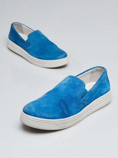 Prada Light Blue Suede Slip On Sneakers Size 5.5/36