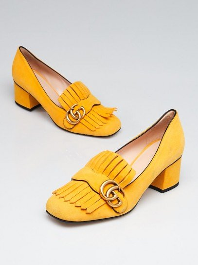 Gucci Yellow Suede Marmont Loafer Mid-Heel Pumps Size 7.5/38