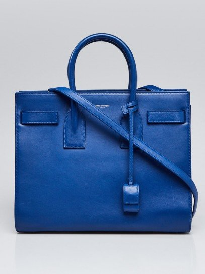 Yves Saint Laurent Blue Smooth Leather Small Sac de Jour Tote Bag