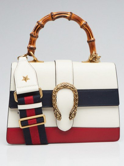 Gucci White/Blue/Red Striped Leather Dionysus Medium Top Handle Bag