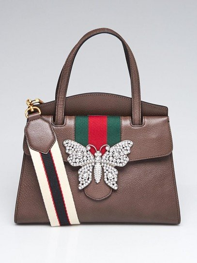 Gucci Brown Leather Crystal Butterfly Linea Totem Medium Bag