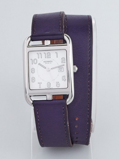 Hermes Cassis Swift Leather and Stainless Steel Cape Cod PM Double Tour Watch CC2.710