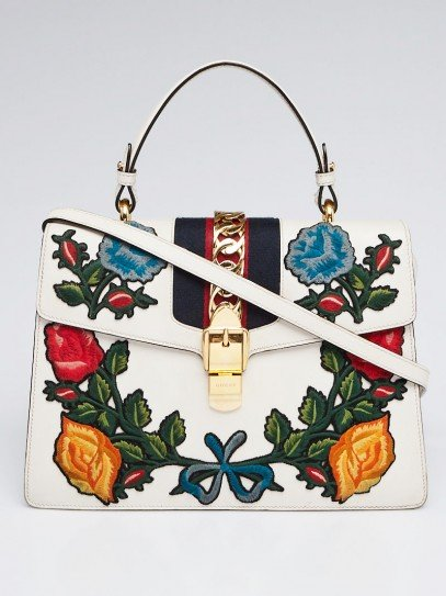 Gucci White Smooth Calfskin Leather Floral Embroidered Medium Sylvie Top Handle Bag