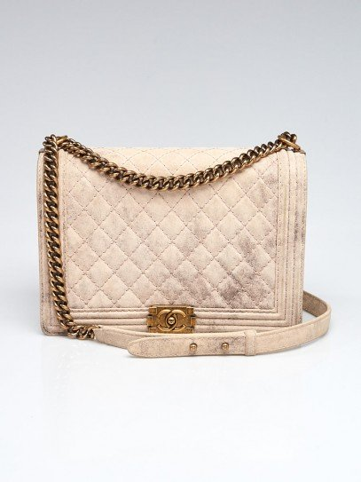 Chanel Beige Quilted Distressed Nubuck Leather Large Boy Bag
