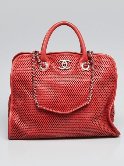 Chanel Red Perforated Leather Up In The Air Tote Bag
