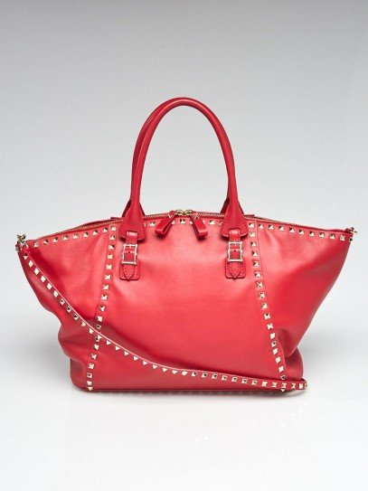 Valentino Red Leather Rockstud Shopping Tote Bag