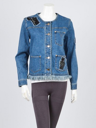 Louis Vuitton Blue Denim Embroidered Jacket Size M