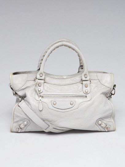Balenciaga Gris Ciment Lambskin Leather Giant 12 Silver Motorcycle City Bag