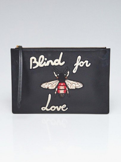 Gucci Black Leather Blind For Love Zip Pouch Clutch Bag