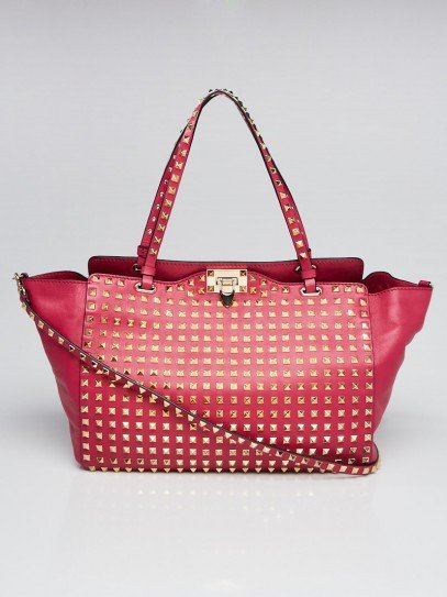 Valentino Pink Leather Rockstud All Over Trapeze Tote Bag