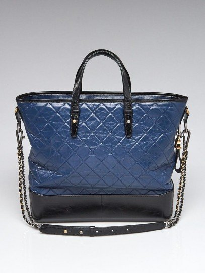 Chanel Blue/Black Quilted Calfskin Leather Large Gabrielle Shopping Tote Bag