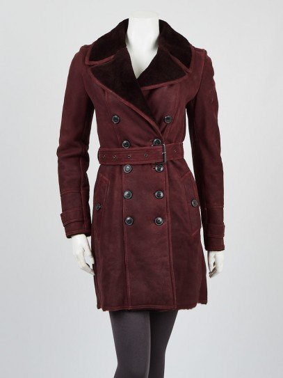 Burberry Burgundy Leather and Shearling Trench Coat Size 4/38