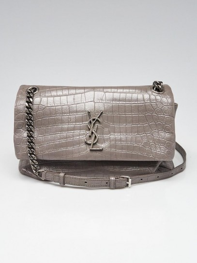 Yves Saint Laurent Grey Crocodile Embossed Leather West Hollywood Medium Shoulder Bag