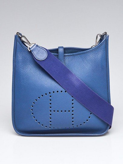 Hermes Blue Agate Clemence Leather Evelyne PM II Bag
