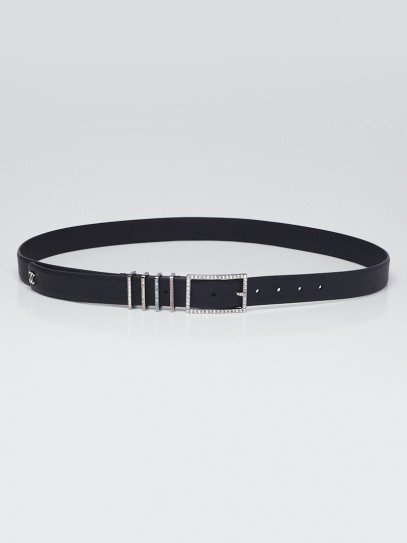 Chanel Black Calfskin Leather Crystal CC Belt Size 125/50