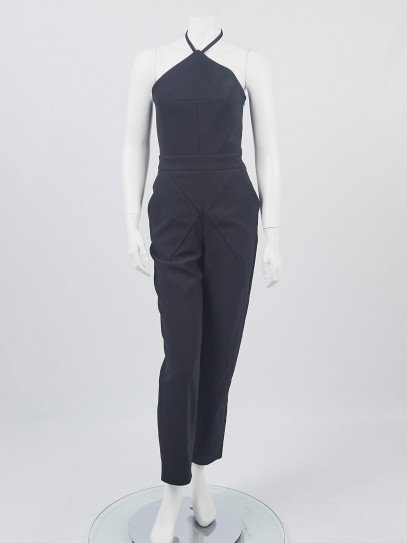 Balenciaga Black Crepe Diamond Jumpsuit Size 4/36