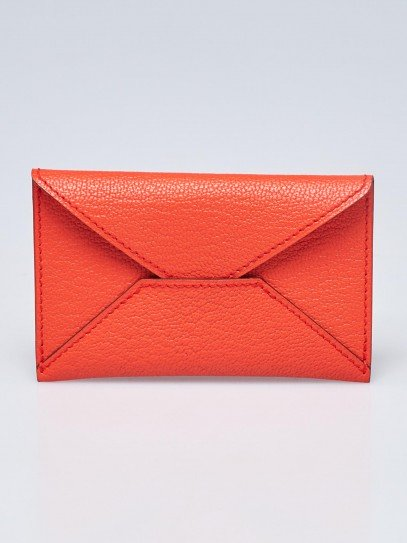 Hermes Feu Chevre Mysore Leather Small Envelope Pouch